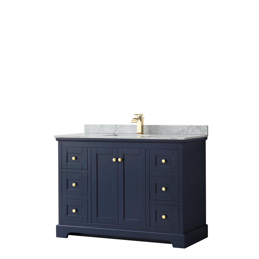 Wyndham Collection Avery 48 in. W x 22 in. D Bathroom Vanity in Dark Blue with Marble Vanity Top in White Carrara with White Basin