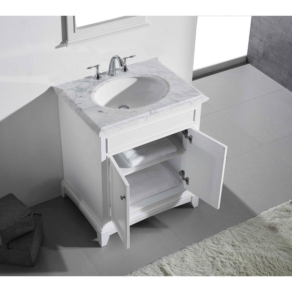 Eviva Elite Stamford 30 in. W x 23.5 in. D x 36 in. H Vanity in White with Carrera Marble Top in White with White Basin