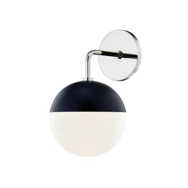 Renee 1-Light Polished Nickel/Black Wall Sconce with Opal Glossy Shade