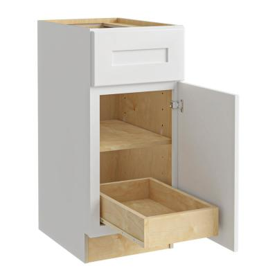Newport Assembled 18x34.5x24 in. Plywood Shaker Base Kitchen Cabinet Right 1 rollout Soft Close in Painted Pacific White