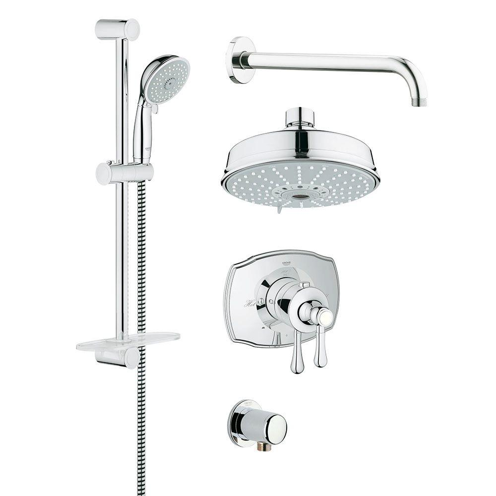 Grohe Grohflex Authentic 4 Spray Hand Shower And Shower Head Combo Kit In Starlight Chrome