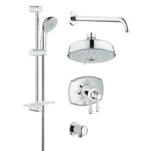 GROHE GrohFlex Authentic 4-Spray Hand Shower and Shower Head Combo Kit in StarLight Chrome by GROHE