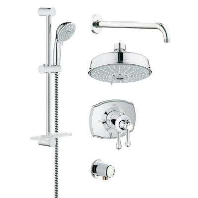 GrohFlex Authentic 4-Spray Handheld Shower and Shower Head Combo Kit in StarLight Chrome
