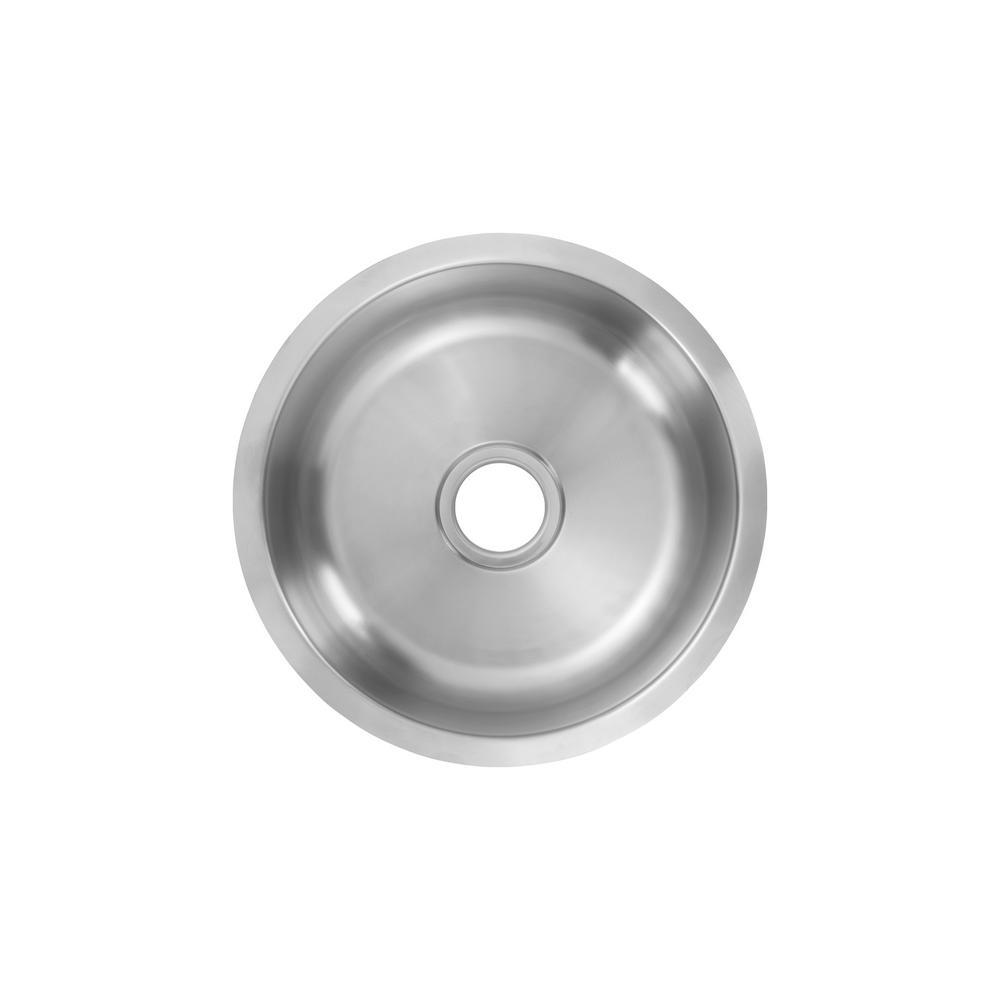 Undermount 18-Gauge Stainless Steel 16 in. 0-Hole Round Single Bowl Bar Sink