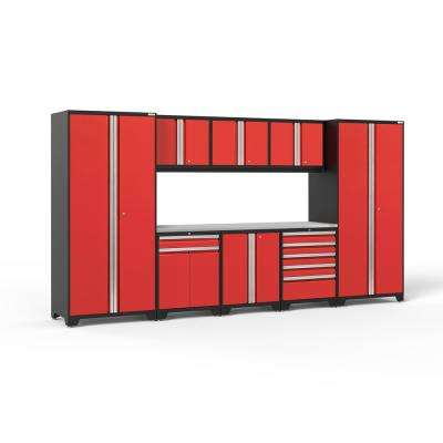 Pro 3.0 85.25 in. H x 156 in. W x 24 in. D 18-Gauge Welded Steel Garage Cabinet Set in Red (9-Piece)