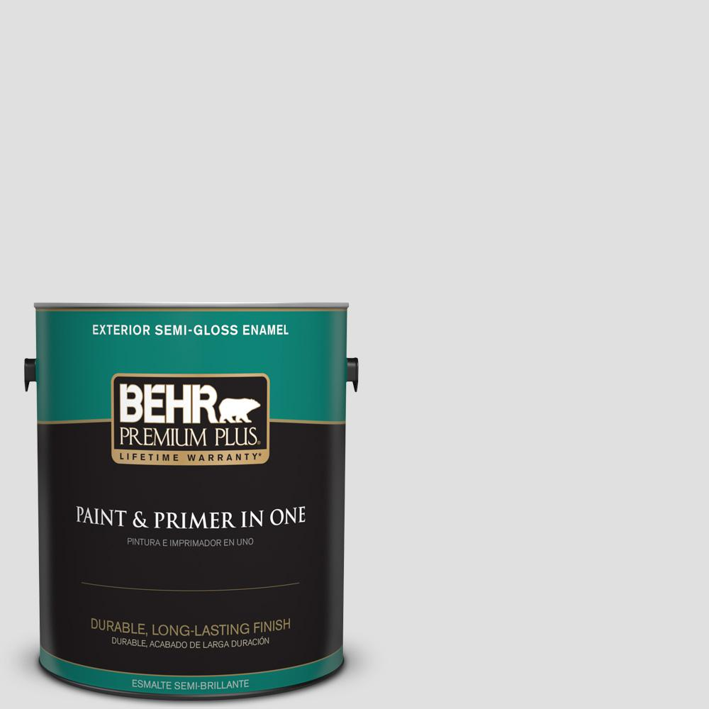 1 gal. #MQ3-55 White Lie Semi-Gloss Enamel Exterior Paint and Primer