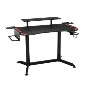 53 in. Rectangular Red Computer Desk with Adjustable Height Feature