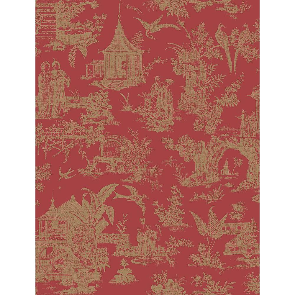 Beacon House Zen Garden Red Toile Wallpaper Sample 2669 21766sam