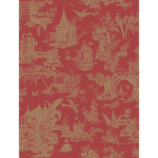 Beacon House Zen Garden Red Toile Wallpaper Sample 2669-21766SAM