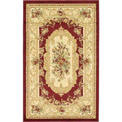 Traditional Versailles Red 3 ft. x 5 ft. Area Rug