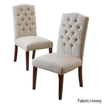 Crown Ivory Linen Dining Chair (Set of 2)