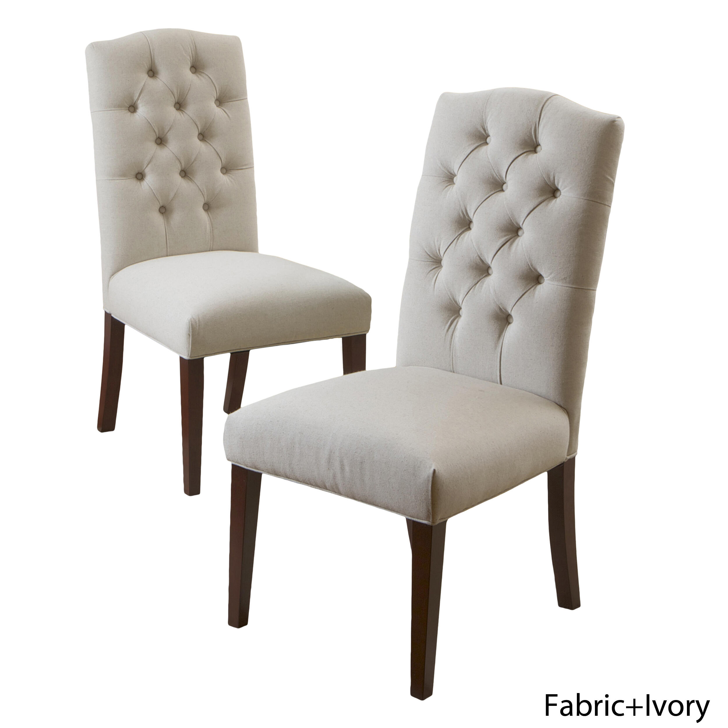 2-Pack Noble House Crown Ivory Linen Dining Chair