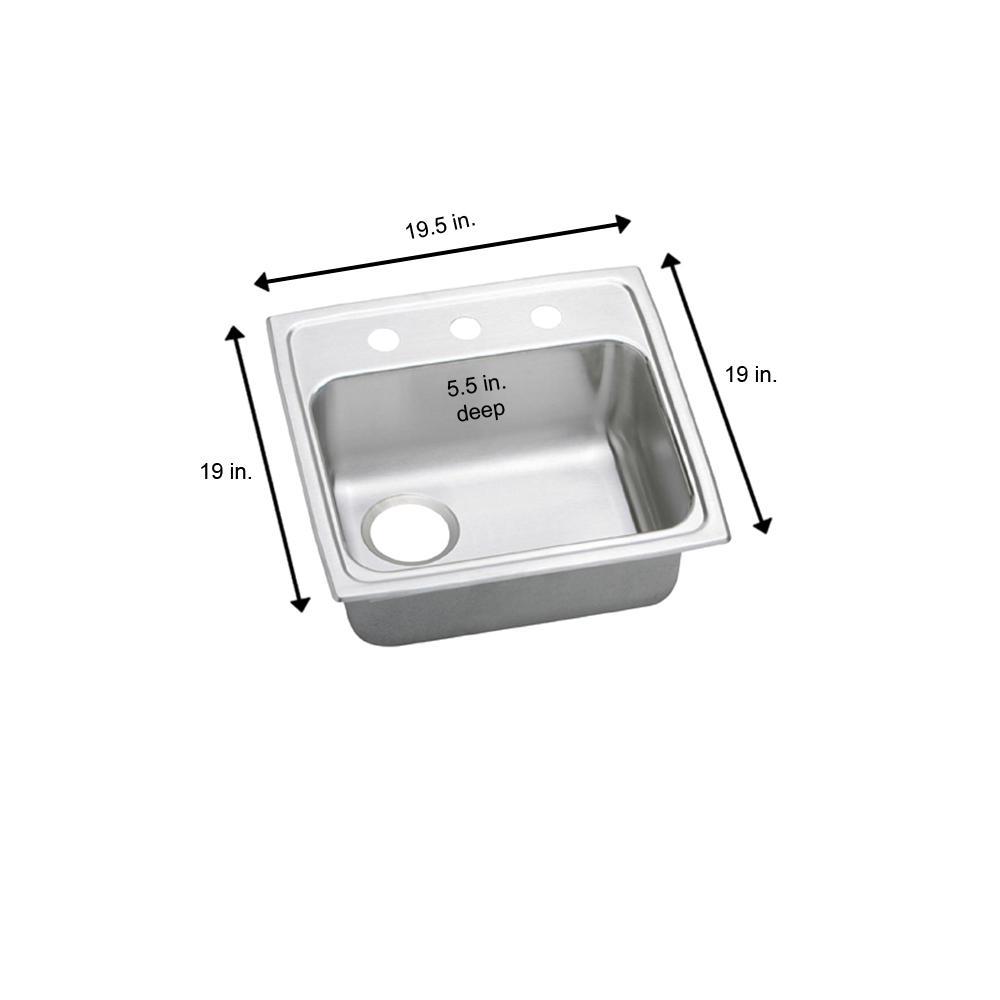 Elkay Celebrity Drop-In Stainless Steel 20 in. 2-Hole Single Bowl ADA  Compliant Kitchen Sink