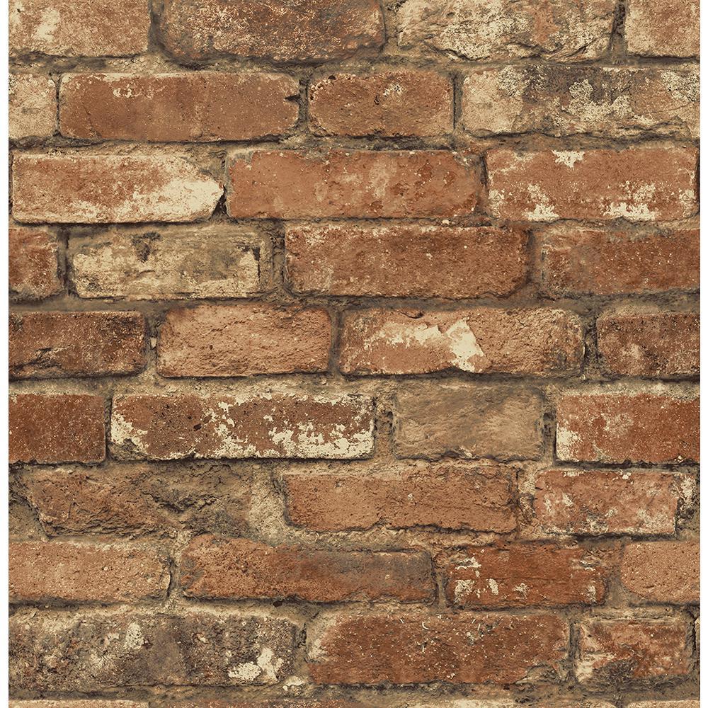 Chesapeake Oxford Rust Brick Texture Wallpaper Man20097 The Home Depot