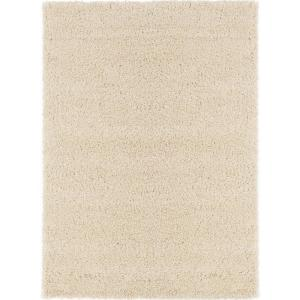 Cozy Shag Collection Cream 5 ft. x 7 ft. Indoor Area Rug