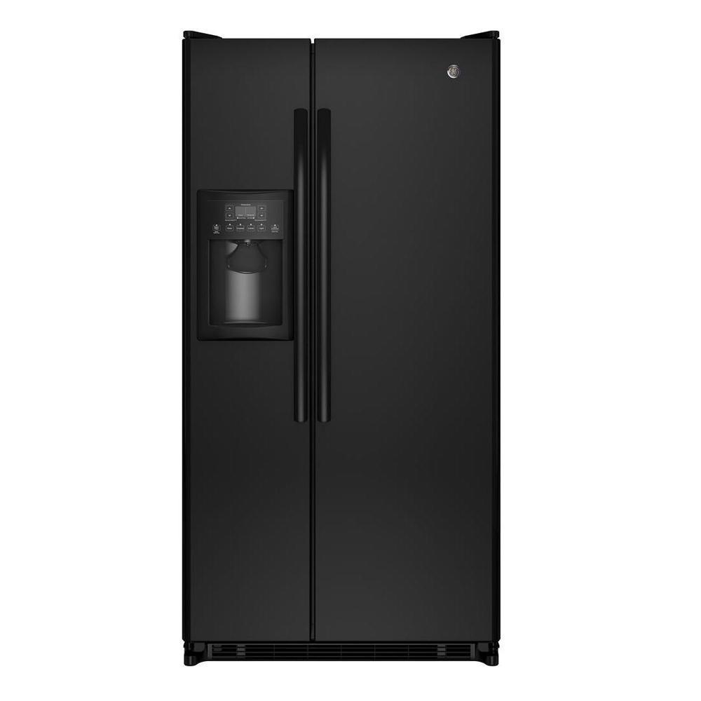 GE 33.5 in. W 21.8 cu. ft. Side by Side Refrigerator in Black