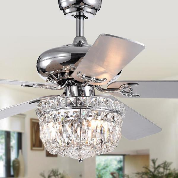 Warehouse Of Tiffany Galileo 52 In Chrome Crystal Bowl Shade Ceiling Fan With Light Kit And Remote Control Cfl8349remo The Home Depot