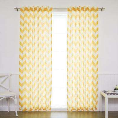 96 in. L Yellow Faux Linen Chevron Curtain (2-Pack)