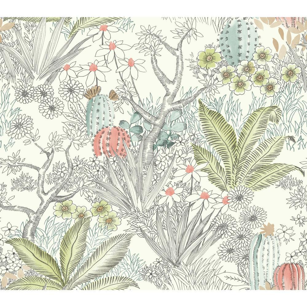 York Wallcoverings 60.75 sq. ft. Outdoors in Flowering Desert Wallpaper