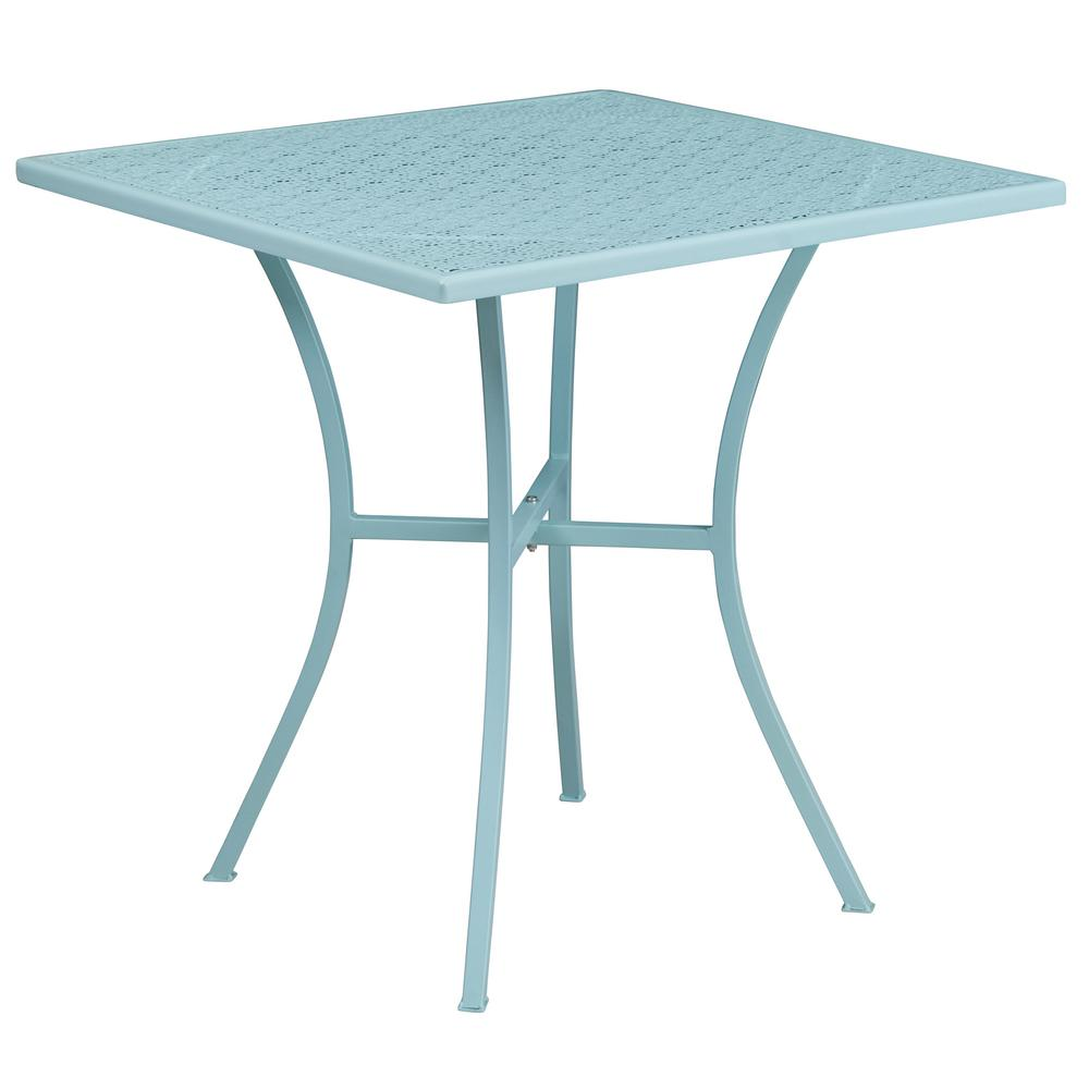Blue Square Metal Outdoor Bistro Table