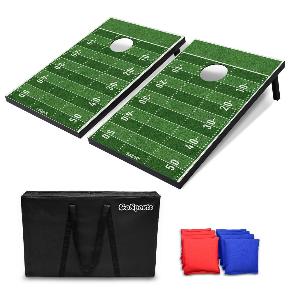 Miraculous Gofloats Tailgate Football Cornhole Set Customize With Your Teams Decals Includes 2 Boards 8 Bean Bags And Case Gmtry Best Dining Table And Chair Ideas Images Gmtryco