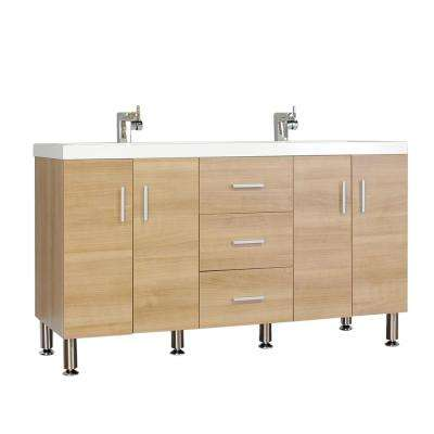The Modern 56.5 in. W x 19.875 in. D Bath Vanity in Light Oak with Acrylic Vanity Top in White with White Basin