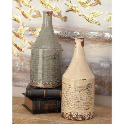 16 in. Ceramic Decorative Vases in Taupe and White (Set of 2)