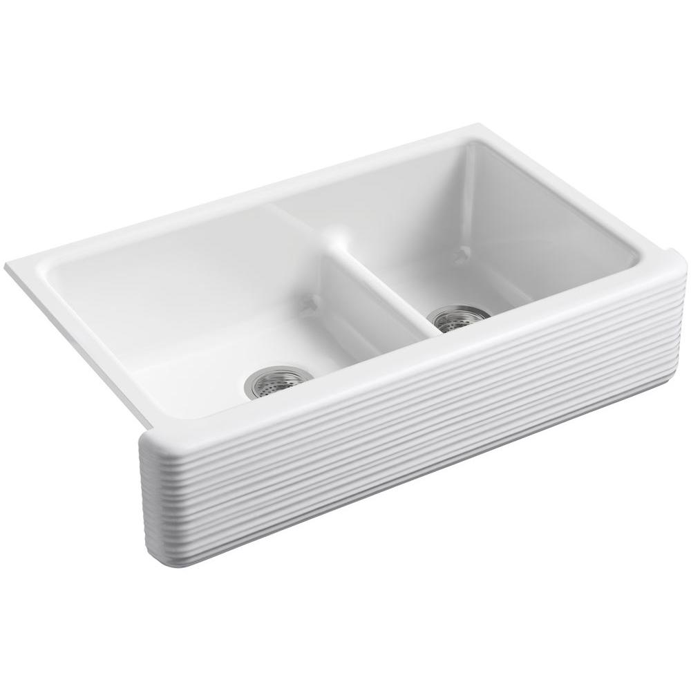 Whitehaven SmartDivide Undermount Farmhouse Apron-Front 36 in. Double Basin
