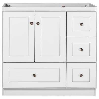Shaker 36 in. W x 21 in. D x 34.5 in. H Vanity with Right Drawers Cabinet Only in Satin White