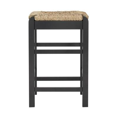 Dorsey Black Wood Backless Counter Stool with Rush Seat (16.54 in. W x 25.59 in. H)