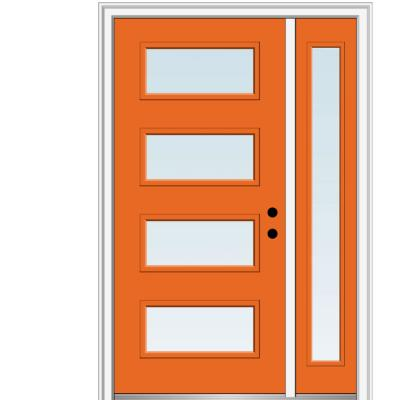 53 in. x 81.75 in. Celeste Clear Low-E Glass Left-Hand 4-Lite Eclectic Painted Steel Prehung Front Door with Sidelite