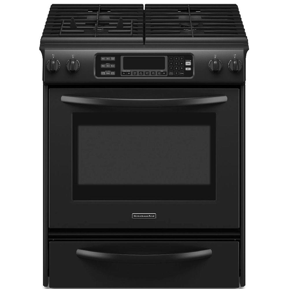 KitchenAid Architect Series II 4.1 cu. ft. Slide-In Gas Range with Self-Cleaning Convection Oven in Black