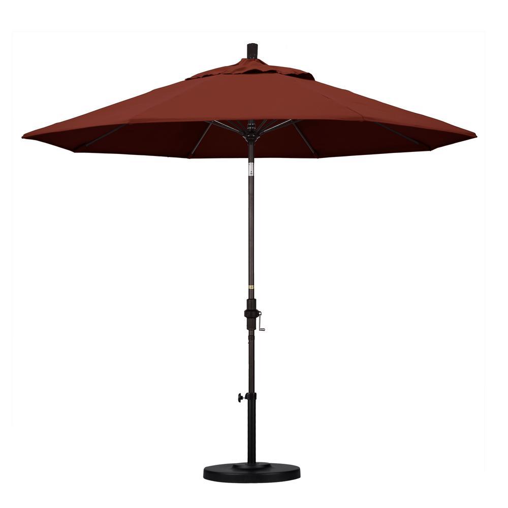 9 ft. Bronze Aluminum Market Patio Umbrella with Fiberglass Ribs Collar Tilt Crank Lift  in Henna Sunbrella