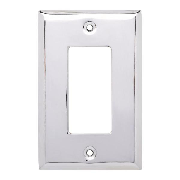Stamped Square Decorative Single Rocker Switch Plate, Polished Chrome
