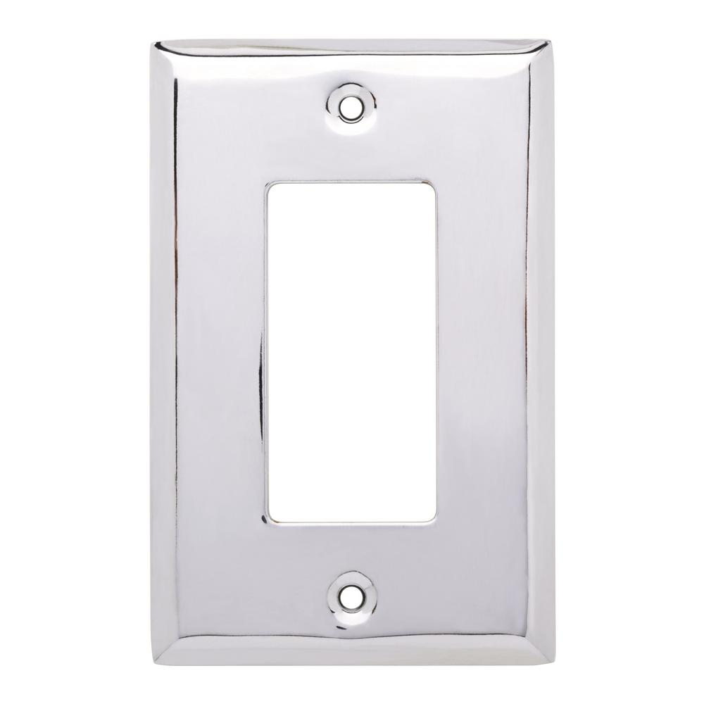 Stamped Square Decorative Single Rocker Switch Plate Polished Chrome