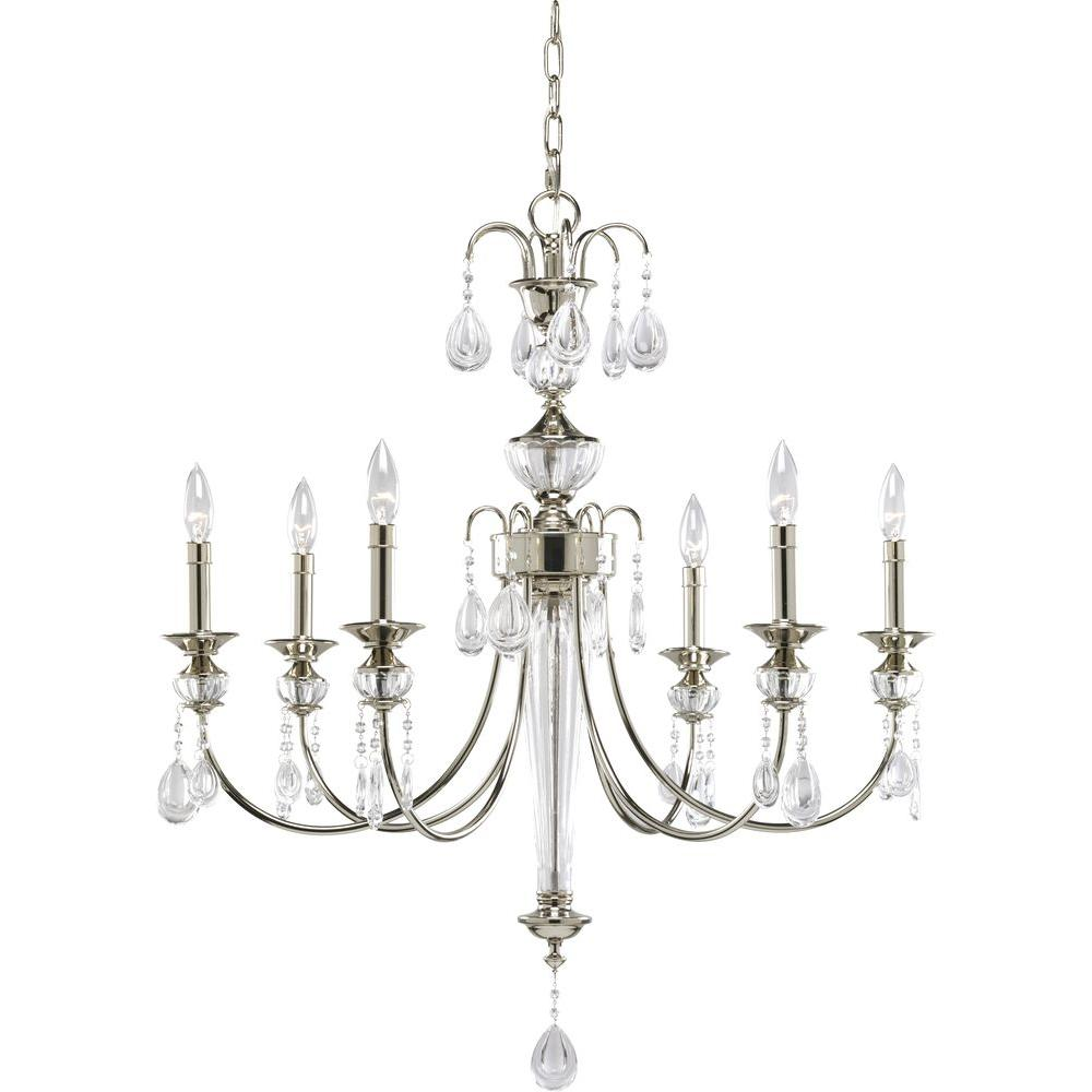 Progress Lighting Noir Collection 6-Light Polished Nickel Chandelier