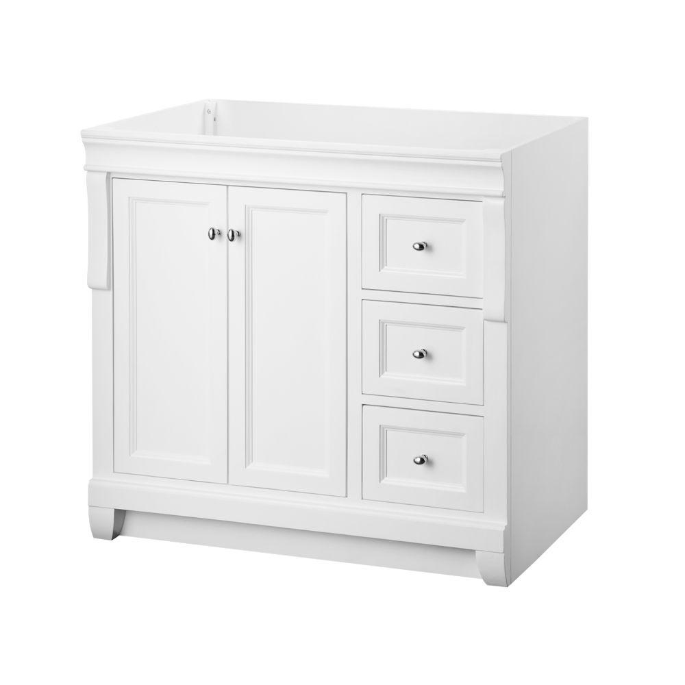 Foremost Naples 36 in. W Bath Vanity Cabinet Only in White with Right Hand Drawers
