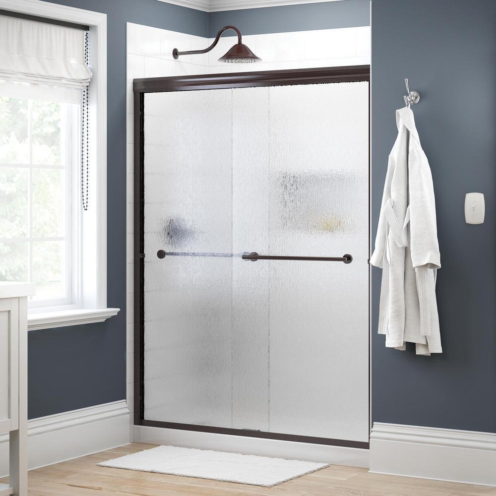 Crestfield 60 in. x 70 in. Traditional Semi-Frameless Sliding Shower Door in Bronze and 1/4 in. (6mm) Rain Glass