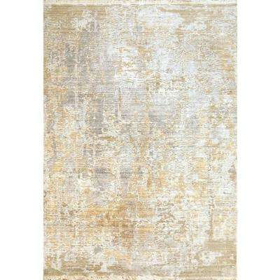 Mood Yellow 5 ft. 3 in. x 7 ft. 7 in. Abstract Polyester Area Rug