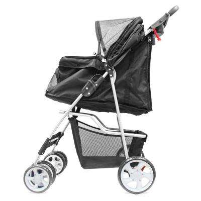 14 in. x 32 in. x 38 in. Black Foldable Pet Stroller