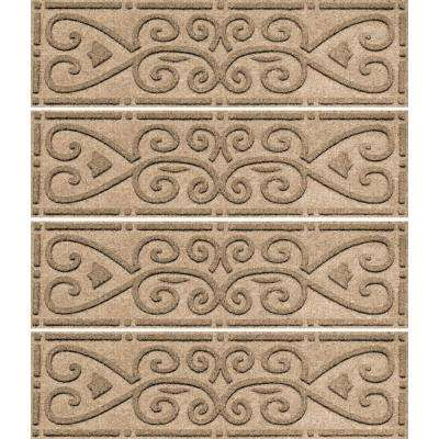 Khaki 8.5 in. x 30 in. Scroll Stair Tread Cover (Set of 4)
