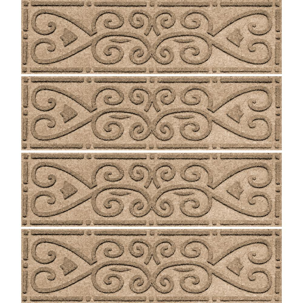 Khaki 8.5 in. x 30 in. Scroll Stair Tread Cover (Set