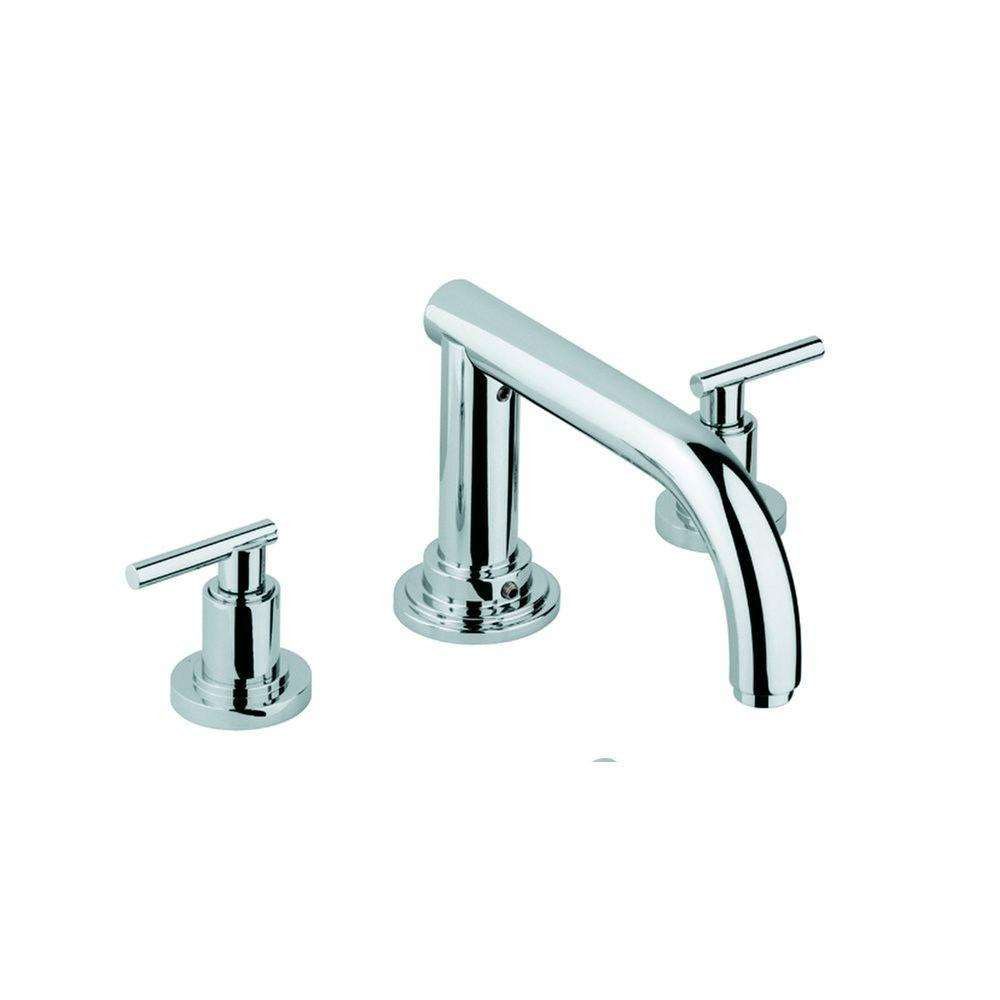 Atrio 2-Handle Deck-Mount Roman Tub Faucet in StarLight Chrome Less Handles
