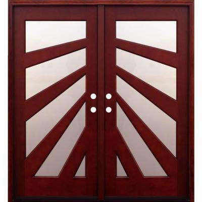 home depot prehung exterior door. Contemporary 5 Lite Fan Stained Mahogany Double Wood Prehung Front Door  Doors Exterior The Home Depot