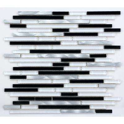 CHENX 11.81 in. x 13.38 in. Aluminum and Glass Mosaic Backsplash in Black/White/Sliver (12.07 sq. ft./case)