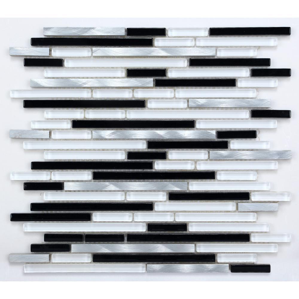 CHENX 11.81 in. x 13.38 in. Aluminum and Glass Mosaic Backsplash in Black/White/Sliver (12.07 sq. ft./case)