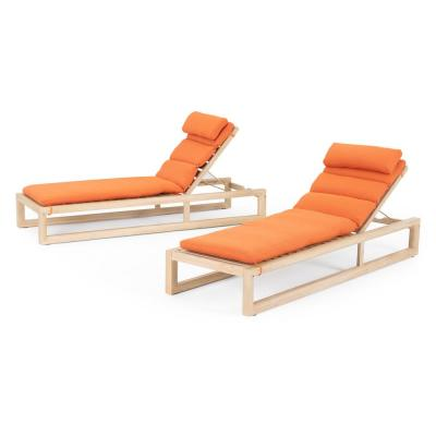 Benson Wood Outdoor Chaise Lounges with Tikka Orange Cushions (Set of 2)