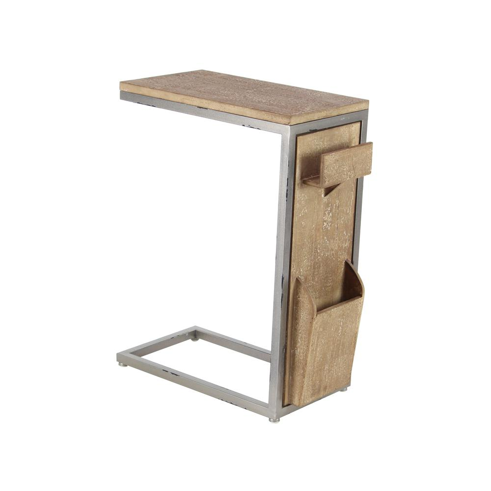 Litton Lane Brown C Shaped Multipurpose Side Table With Gray Accents