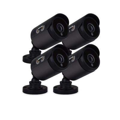 720p HD Analog Black Bullet Cameras with 100 ft. Night Vision and 60 ft. of Cable (4-Pack)