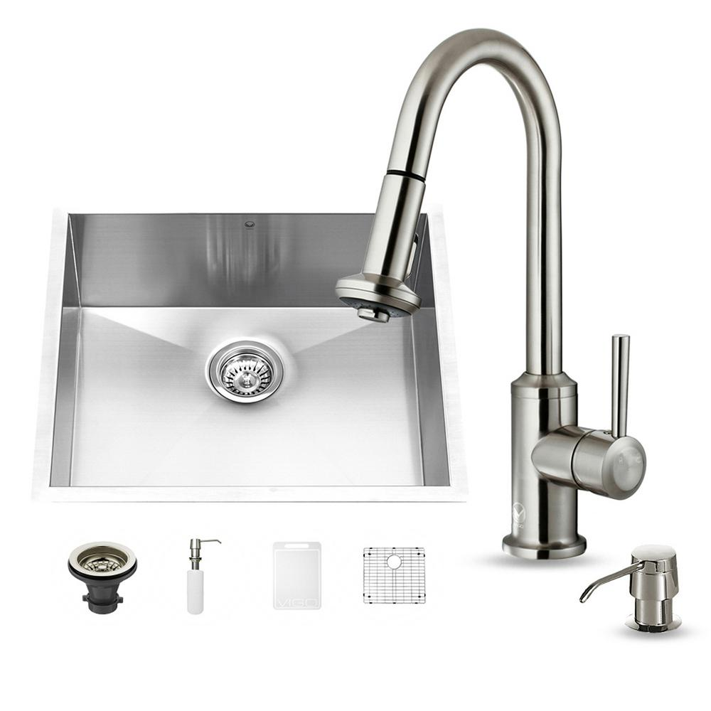VIGO All-in-One Undermount Stainless Steel 23 in. Single Basin Kitchen Sink in Stainless Steel